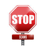 Stop scams signpost illustration design Stock Photography