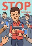 Stop school bullying poster. Phones and fingers pointing at schoolboy surrounded by laughing bullies. Colored flat. Vector illustration. Vertical stock illustration