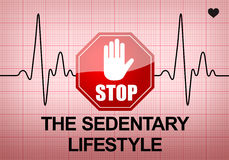 STOP THE SEDENTARY LIFESTYLE on ECG recording paper. STOP THE SEDENTARY LIFESTYLE written on ECG recording paper expressing warning on heart condition, health Stock Photo