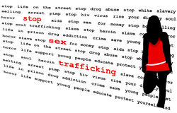 Stop Sex Trafficking. Silhouette of young woman in front of word wall Stock Illustration