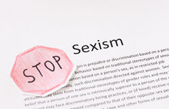 Stop sexism phrase. prejudice or discrimination based on a person's gender Royalty Free Stock Image