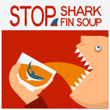 Stop shark fin soup.Vector symbol poster with man head eating. Stop shark finning.Vector symbol poster background with text Royalty Free Stock Photo