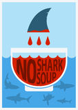 Stop shark finning.Vector color poster Stock Photos