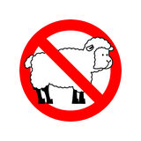 Stop sheep. Ban ewe. Attention farm is an animal. Red prohibitor Stock Images