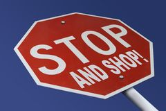 Stop And Shop. Stop Sign altered to read Stop And Shop Stock Photos