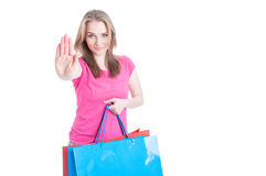 Stop and shop concept with beautiful female and her bags Royalty Free Stock Photo