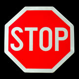 Stop Sign. Isolated on black backgroud Royalty Free Stock Image
