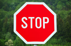 Stop sign. In the countryside Stock Photos