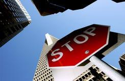 Stop sign. Outside Transamerica pyramid, San Francisco Royalty Free Stock Photos