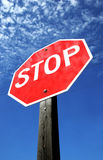Stop Sign. Wide Angle Stop Sign on Blue Sky stock image