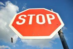Stop Sign. With street lamp background Royalty Free Stock Photos