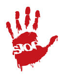 Stop Sign. In the palm impression for the conceptual use stock illustration