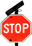 Stop Sign. A Stop Sign Equipped With Solar Power Royalty Free Stock Photo