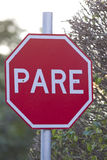 Stop sign. Brazilian stop sign in portugues and spanish Royalty Free Stock Image