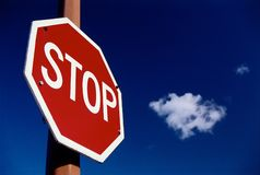 Stop sign. You cant stop clods, never Stock Photography