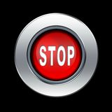 Stop sign. Red stop sign with metal border over black background royalty free illustration