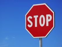 Stop Sign. Against blue sky stock photography