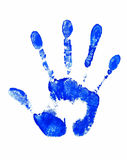 Stop Sign. Blue Hand Print Royalty Free Stock Photography