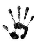Stop Sign. Black Hand Print Stock Photo