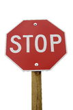 Stop Sign. On wood post in white background stock image