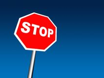 Stop sign. With blue sky Stock Photography