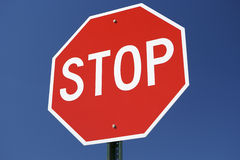 Stop Sign. With Blue Sky Background Stock Photos