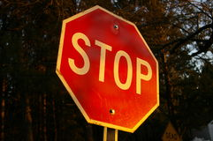 Stop sign. A stop sign at dusk royalty free stock images