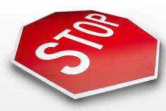 Stop Sign. Red and white stop sign on white background royalty free stock photos