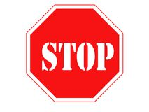 Stop sign. Isolated on pure white Stock Photos