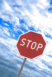 Stop sign. Picture of red stop sign stock photos