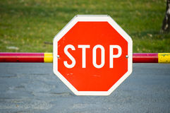 Stop sign. At road ramp Stock Images