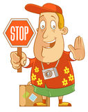 Stop Sign. Abe The Tourist - Holding a stop sign Royalty Free Stock Photo
