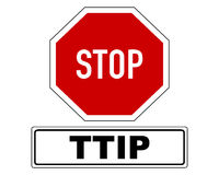 Stop sign with added information Stock Photos