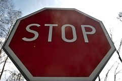 Stop sign against the sky Royalty Free Stock Image