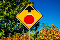 Stop sign ahead royalty free stock photos