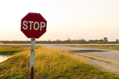 Stop sign at airfield Stock Images