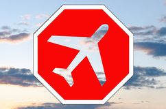 Stop sign with airplane icon Stock Photography