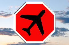 Stop sign with airplane icon Royalty Free Stock Photo