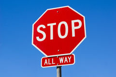 Stop Sign All Way Stock Photo