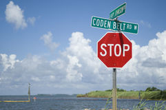 Stop Sign. Along the Gulf of Mexico Stock Photo