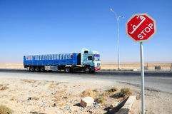 Free Stop Sign And Truck On Road Stock Photos - 14796163