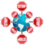 Stop sign around the globe Royalty Free Stock Photo