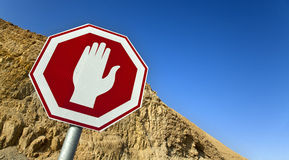 Stop Sign in the Desert Royalty Free Stock Photos