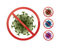Stop sign on bacteria. Set of stop prohibit signs on bacteria close up front view isolated on white background Stock Image