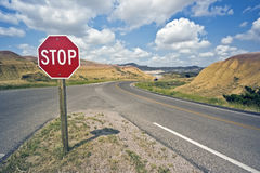 Stop sign in Badlands Stock Photo