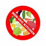 Stop sign. Banning Red sign. Strikethrough vegetables Royalty Free Stock Image