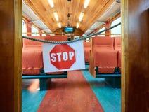 Stop sign bans access wagon train. Stop sign bans the access to the wagon train Stock Images