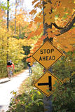 Stop Sign by the Bike Trail Royalty Free Stock Photography