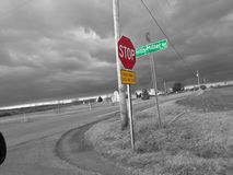 Stop sign. Black and with a concentration of red and green Stock Images