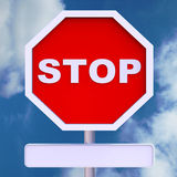 Stop Sign With Blank Copyspace For Message Stock Photo